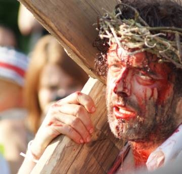 Michael Sheen with cross