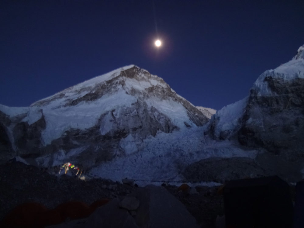 Khumbu Icefall by moonlight